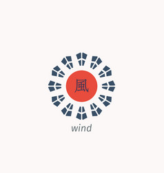 Traditional chinese hieroglyph wind vector