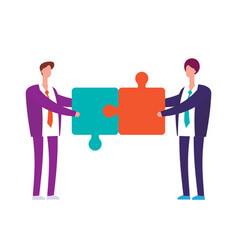 two businessman with puzzles vector image