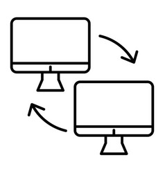 two computer with arrows thin line icon computer vector image