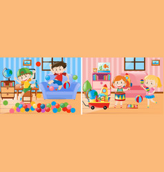 Two scenes of kids playing in the living room vector