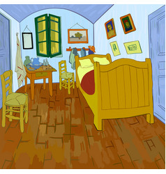 Van goghs bedroom vector