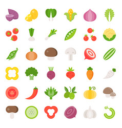 vegetable icon set 22 flat design vector image