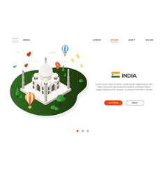 visit india - modern colorful isometric web banner vector image