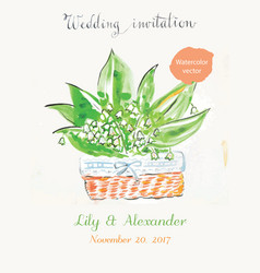 wedding invitation watercolor vector image