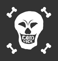 white smiling skull with bones on black background vector image