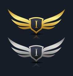 Wings shield letter i logo template vector