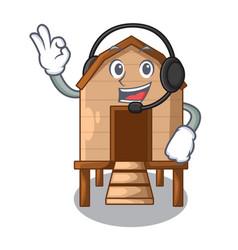 With headphone chicken in a wooden cartoon coop vector