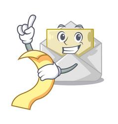 with menu open envelope on cartoon shape blank vector image