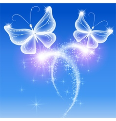 Butterflies and stars vector image vector image