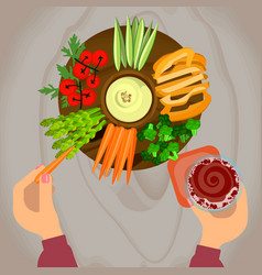 vegetables and hummus with beer vector image vector image