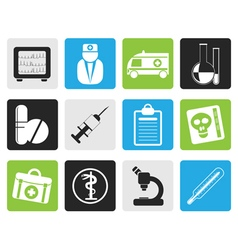 Black Medical and healthcare Icons vector image vector image