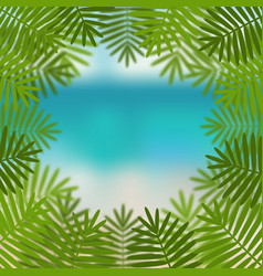 palm leaves on sea view background vector image