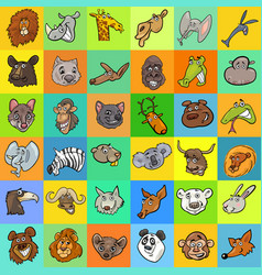 Pattern with cartoon animals design vector
