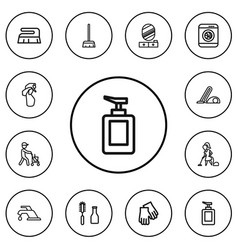 set of 12 editable hygiene outline icons includes vector image