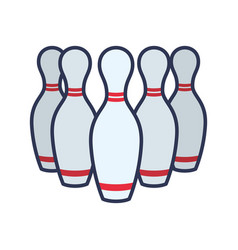 bowling pins sport game vector image vector image