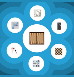 Flat icon play set of dice chess table sea fight vector