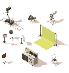 isometric low poly video equipment set vector image vector image