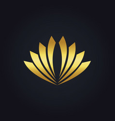 shape abstract flower gold logo vector image vector image