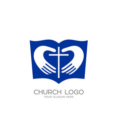 The bible hands forming the heart and the cross vector