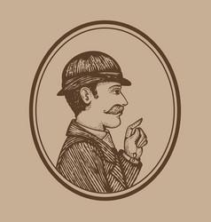 Vintage engraved man vector