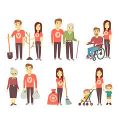 volunteer helping to disabled people vector image vector image