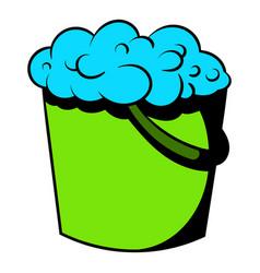 bucket with foamy water icon icon cartoon vector image vector image
