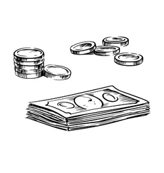 Coins and stacks of dollar bills sketches vector image vector image