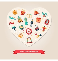 Flat design wedding and marriage proposal heart vector