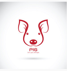 pig head on white background farm animals vector image vector image