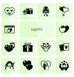 14 happy filled icons set isolated on white vector image