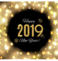 2019 happy new year gold glossy background vector