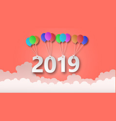 2019 paper cut hanging at colorful balloon over vector image