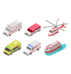 ambulance icon set isometric style vector image