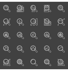 Analytics magnifying glass icons vector image