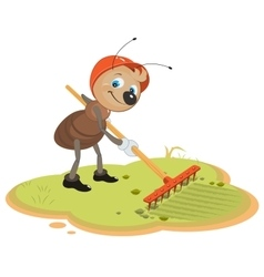 Ant Gardener with rake vector image
