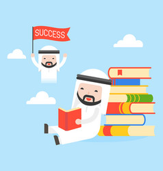 arab businessman sit at stack of books read a vector image