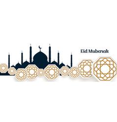 Arabic islamic style eid mubarak festival banner vector