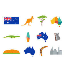 australia icons set in flat design vector image
