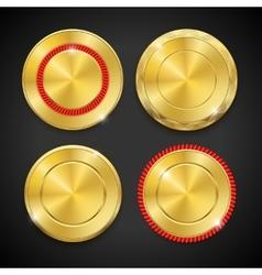 Best golden metal badges set Round blanc gold vector