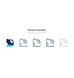 Bleach cleaning icon in different style two vector