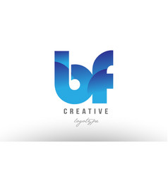 Blue gradient bf b f alphabet letter logo vector