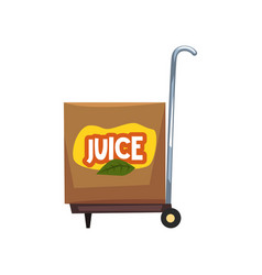 box of juice on a cart on a vector image