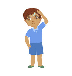 Boy with a headachesick kid feeling unwell vector