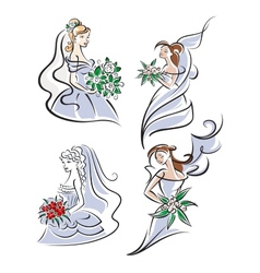 bride holding bouquet flowers vector image