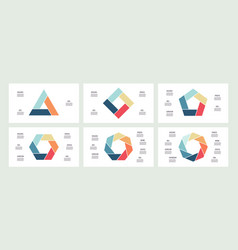 business infographics polygons with 3 4 5 6 7 vector image