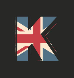 capital 3d letter k with uk flag texture isolated vector image