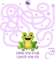 card with maze game help the frog catch the fly vector image