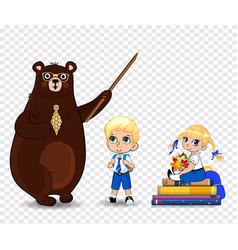 Cartoon bear teacher in glasses holding pounter vector