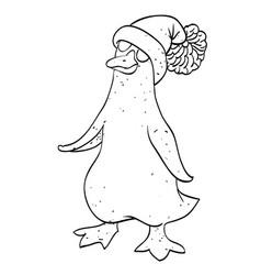 cartoon image of penguin wearing hat vector image