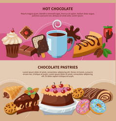 Chocolate pastries flat banners vector